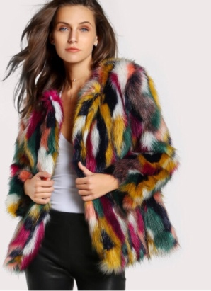 Multi-color fur coat